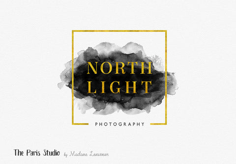 Geometric Gold Foil Watercolor Logo Design