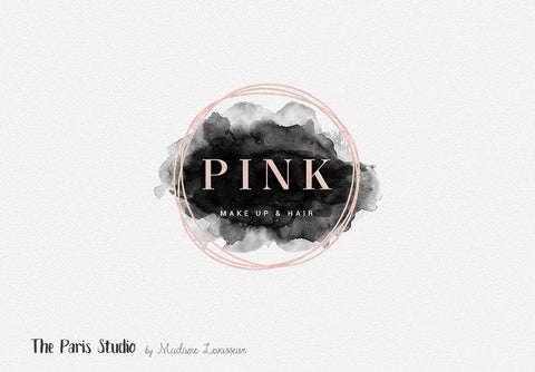 Pink Gold Foil Geometric Watercolor Logo Design