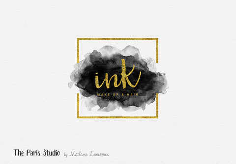 Gold Foil Geometric Watercolor Logo Design