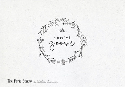 Hand Drawn Wreath Floral Logo Design DIY Instant Logo Design