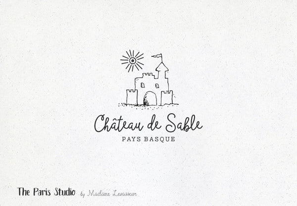 Hand Drawn Style Sand Castle Logo Design