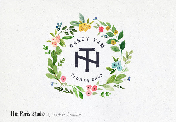 Watercolor Floral Wreath Monogram Logo Design