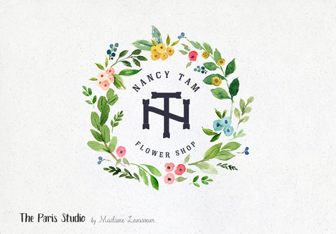 Floral Watercolor Wreath Logo: DIY Instant Logo Design