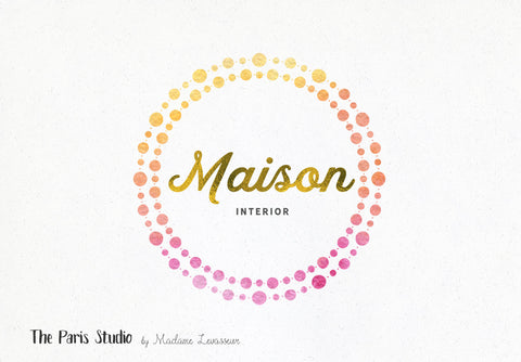Watercolor Geometric Logo DIY Instant Logo Design