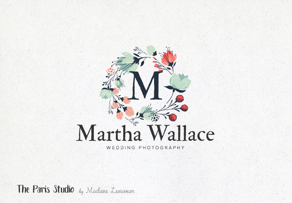 Floral Watercolor Wreath Monogram Logo Design