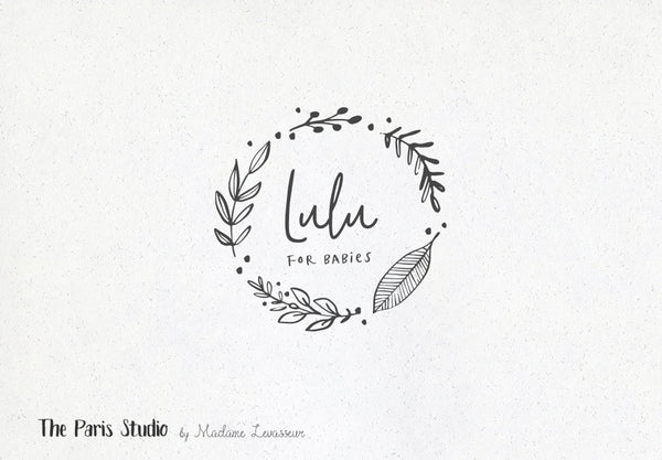 Hand Drawn Leafy Wreath Logo Design