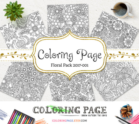 Printable Adult Coloring Page Floral Pattern Vol. 1