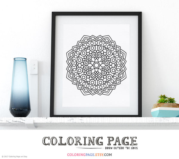 Printable Coloring Page Geometric Mandala Doodle