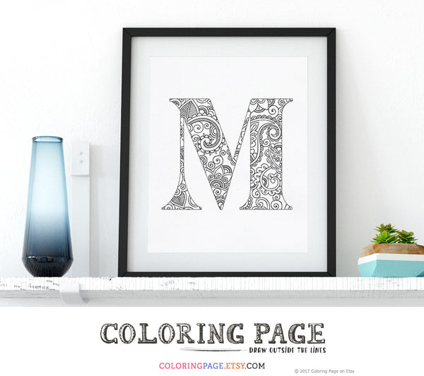 Printable Coloring Page Floral Alphabets A-Z