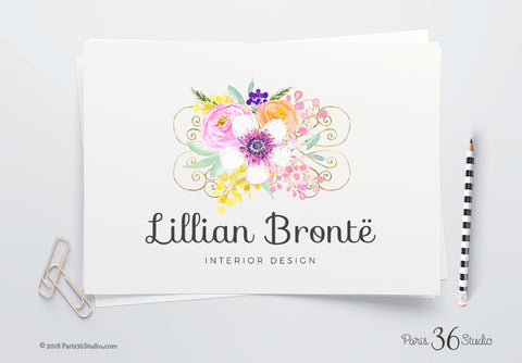 DIY Instant Download Floral Watercolor Logo Design - Photoshop Logo Template