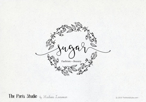 Hand Drawn Style Floral Wreath Boutique Logo Design