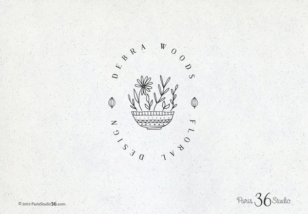 Hand Drawn Style Floral Badge Logo Design