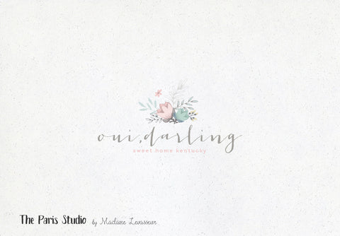 Hand Drawn Style Watercolor Florist Logo Design