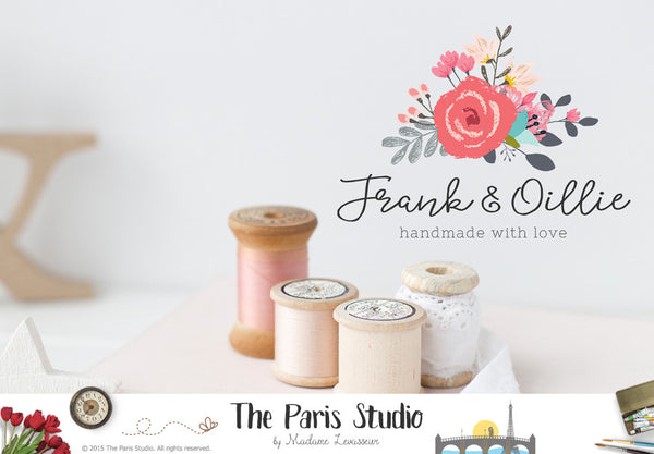 Watercolor floral logo design with hand writing font