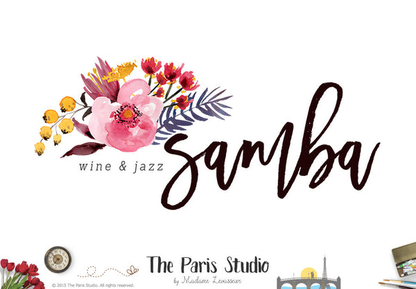 Hand Drawn Style Watercolor Floral Logo Design