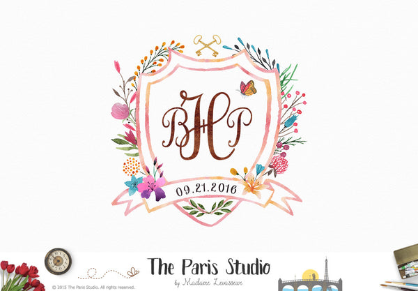 Custom Monogram Logo Design: wedding monogram, family crest, baby birth monogram design
