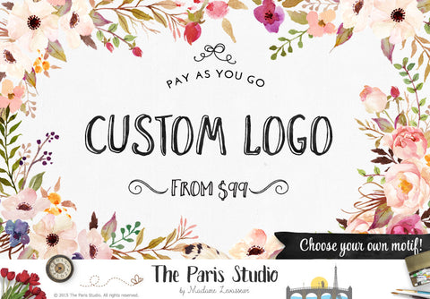 Watercolor Flower Logo: Pay As You Go Custom Logo Design