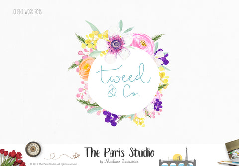 Floral Watercolor Wreath Logo Design