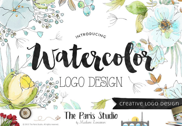 Custom Logo Design: Watercolor Floral Logo, Watercolor Food Logo, Photography Logo, Boutique Logo Design