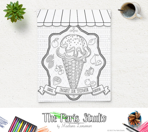 Printable Coloring Page Vintage Poster 2