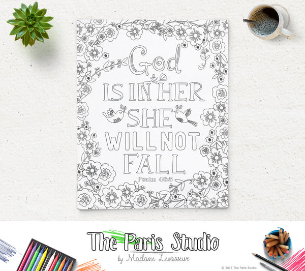 Printable Coloring Page Bible Verse Psalm 46:5