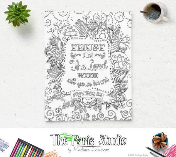 Printable Coloring Page Bible Verse Proverbs 3:5