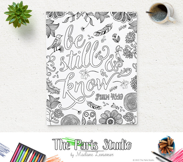 Printable Coloring Page Be Still and Know Psalm 46:10