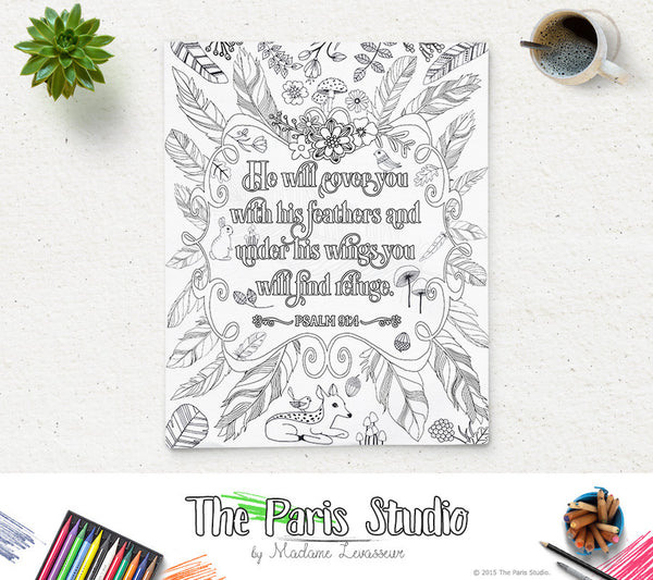 Printable Coloring Page Bible Verse Psalm 91:4