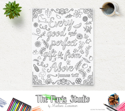 Printable Coloring Page Bible Verse James 1:17