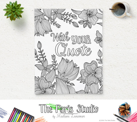 Personalized Coloring Page Wedding and Shower Printable Coloring Page