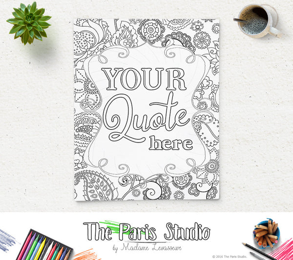 Custom Design Coloring Page Party and Shower Printable Coloring Page