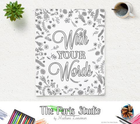 Custom Design Printable Coloring Page Party and Shower Coloring Page