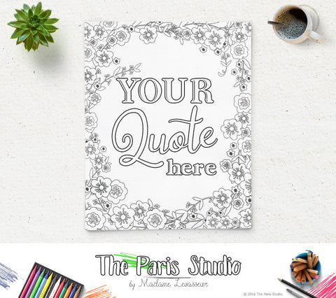 Custom Design Printable Coloring Page Bible Verse Party and Shower Coloring