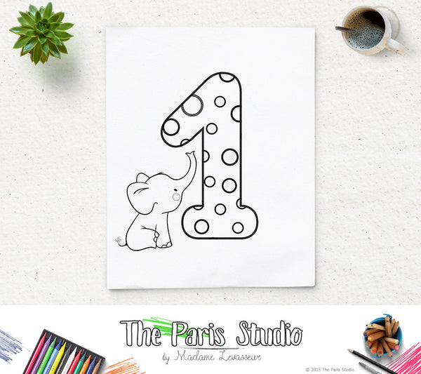 Instant Download Printable Coloring Page Numbers 0-9 for Kids