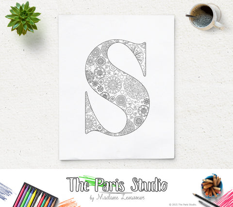 Floral Alphabet Printable Coloring Page Letter S