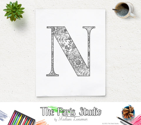 Floral Alphabet Printable Coloring Page Letter N