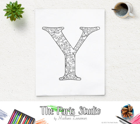 Floral Alphabet Printable Coloring Page Letter Y