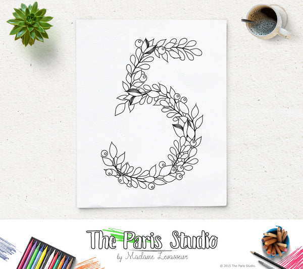 Printable Coloring Page Floral Numbers 0-9