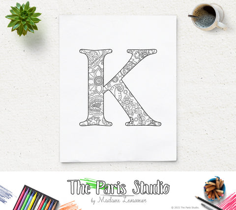 Floral Alphabet Printable Coloring Page Letter K
