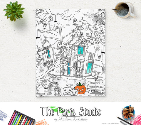 SALE Printable Coloring Page Halloween Haunted House