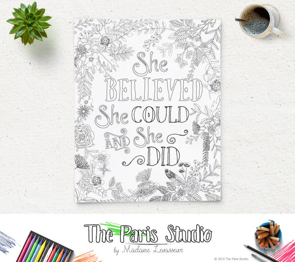 Printable Coloring Page She believed she could