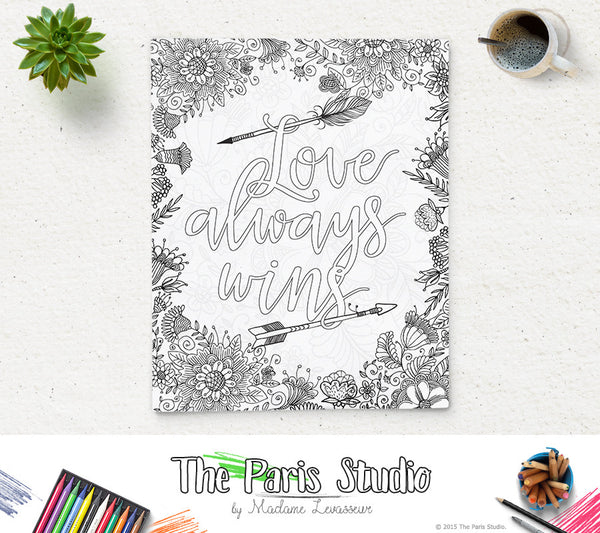 Printable Coloring Page Love Always Wins