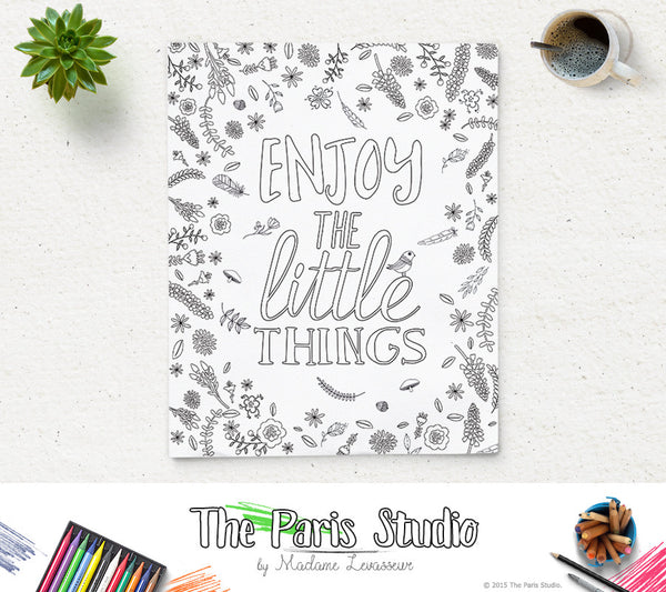Printable Coloring Page Enjoy the Little Things