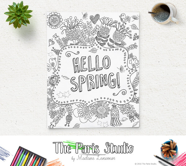 Instant Download Printable Coloring Page Hello Spring