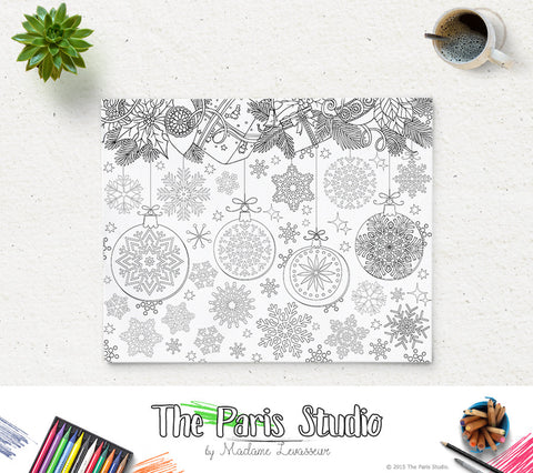 SALE Christmas Party Coloring Page Snowflakes