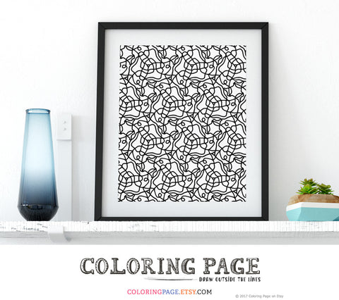 Instant Download Coloring Page Zentangle Doodle Design