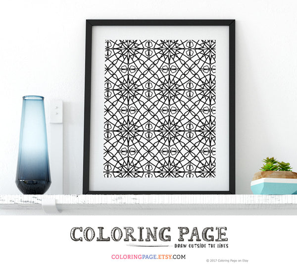 Printable Coloring Page Zentangle Doodle Wall Art