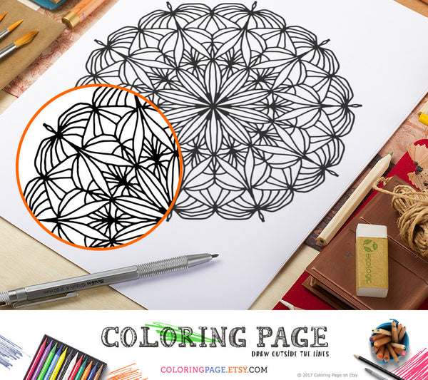 Printable Coloring Page Floral Mandala Doodle