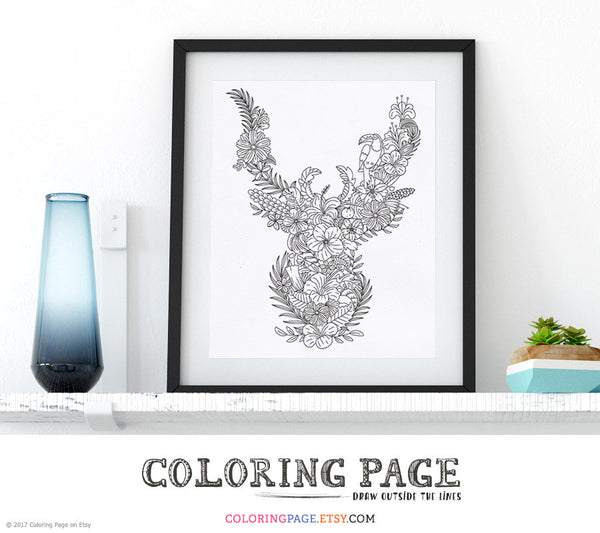 Printable Coloring Page Floral Animal Antler Edition