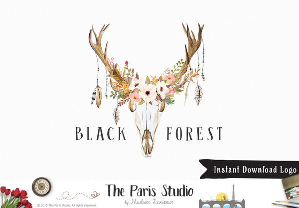DIY Instant Download Logo Template 4 Antler Floral Logo